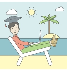 Man in graduation cap on seashore vector
