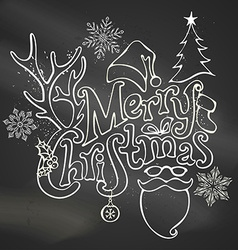 Chalk merry christmas decoration vector
