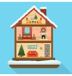 Christmas house in cut with snow vector