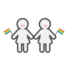 Gay marriage pride symbol two contour women with vector
