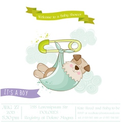 Baby shower or arrival card - baby dog vector