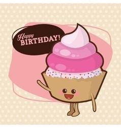 Happy birthday design cupcake icon colorfull vector