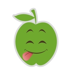 Cute tongue out apple cartoon icon vector