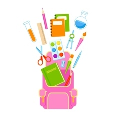 Backpack with school supplies vector image