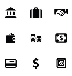bank 9 icons set vector image