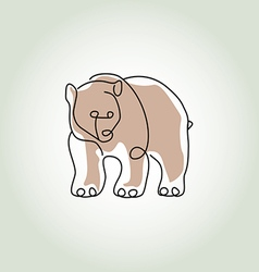 Bear grizzly in minimal line style vector