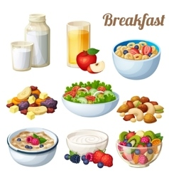 Breakfast 2 Set of cartoon food icons vector image vector image