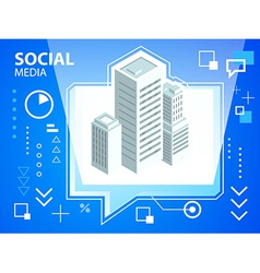 bright speech bubble and buildings on blue b vector image