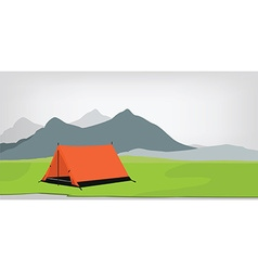Camping tent mountains vector image vector image
