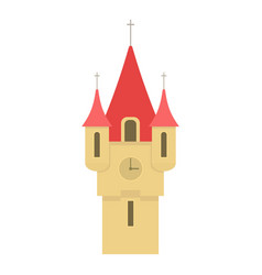 Castle tower with red pointed domes icon vector