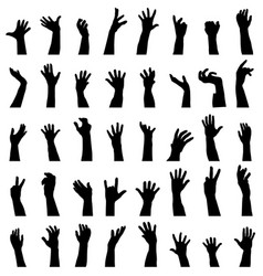 collection of hands silhouettes vector image vector image