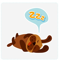Cute cartoon dog is sleeping vector