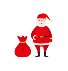 cute santa claus and big bag of christmas presents vector image vector image