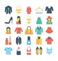 Fashion and clothes colored icons 2 vector