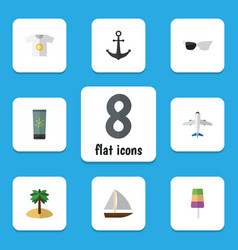 Flat icon season set of clothes coconut ship vector