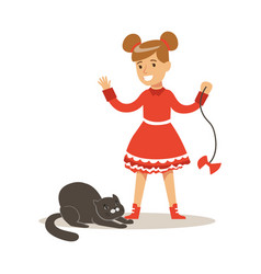 Funny little girl in red dress playing with black vector
