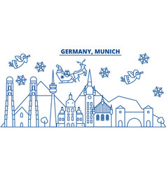 germany munich winter city skyline merry vector image