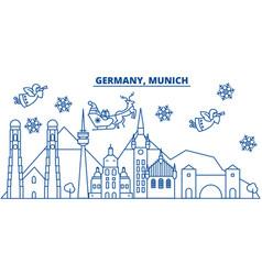 Germany munich winter city skyline merry vector