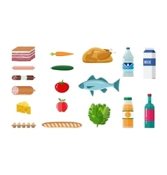 Grocery set meat fish salad bread milk vector