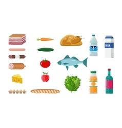 Grocery set meat fish salad bread milk vector image vector image