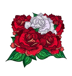 Hand Drawn Wedding Rose Bouquet vector image vector image