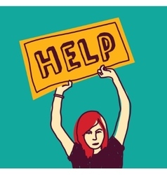 Help sos girl young woman color stress vector image