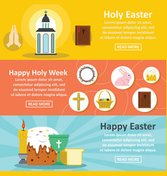Holy easter banner horizontal set flat style vector