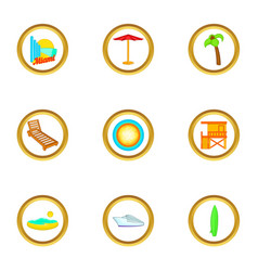 Miami beach icons set cartoon style vector