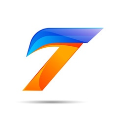 Number seven 7 logo orange and blue color with vector