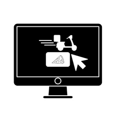 Ordering food online computer pictogram vector