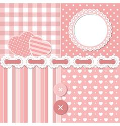 Pink scrapbook set vector image vector image