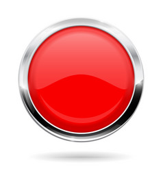 red round button web icon with chrome frame vector image vector image