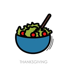 Salad bowl icon harvest thanksgiving vector
