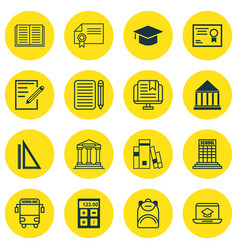set of 16 education icons includes library vector image vector image