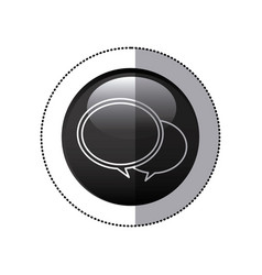 Sticker black circular frame with speech bubbles vector