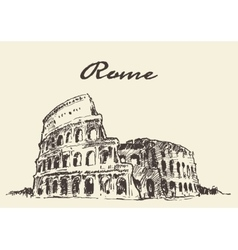 Streets rome colosseum drawn sketch vector
