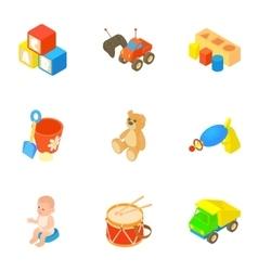 Toys icons set cartoon style vector