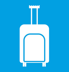 Travel suitcase icon white vector