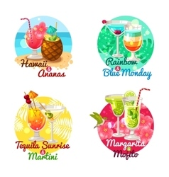 Tropical Cocktails Flat vector image vector image