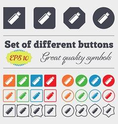 Usb sign icon flash drive stick symbol big set of vector