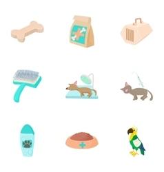Veterinary icons set cartoon style vector