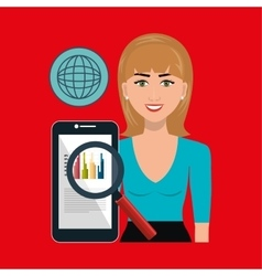 woman search smartphone globe vector image