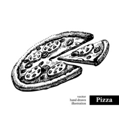 Pizza vintage fast food hand drawn sketch vector