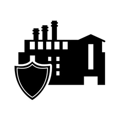 Factory and shield icon vector