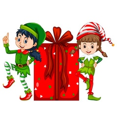 Two girls dressed in elf costume and red present vector