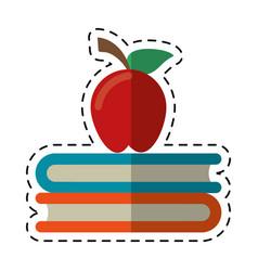 Cartoon apple book school symbol vector