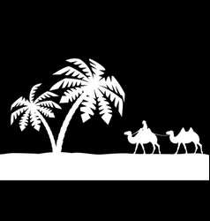 Man on the camel in palm trees vector