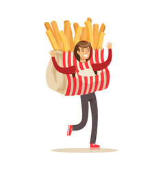 Man wearing french fries costume potato snack vector