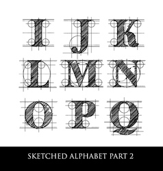 sketched diagram alphabet set 2 vector image
