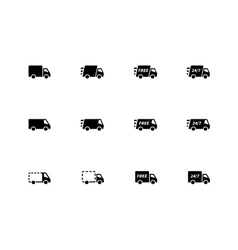 Delivery trucks icons on white background vector